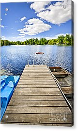 Dock On Lake In Summer Cottage Country Acrylic Print by Elena Elisseeva