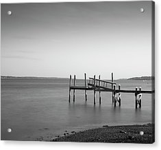 Acrylic Print featuring the photograph Dock Portsmouth Ri I Bw by David Gordon
