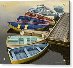 Dock With Colorful Boats Acrylic Print by Dennis Orlando