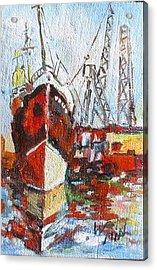 docked Ship - Minature Acrylic Print