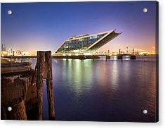 Dockland At Night Acrylic Print by Marc Huebner