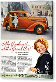 Dodge Automobile Ad, 1936 Acrylic Print by Granger