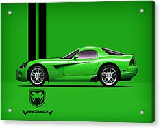 Dodge Viper Snake Green Acrylic Print by Mark Rogan