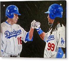 Dodgers Duo Acrylic Print by Daryl Williams Jr
