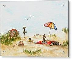 Dog Beach Acrylic Print by Miroslaw  Chelchowski