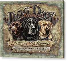 Dog Day Acres Sign Acrylic Print by JQ Licensing