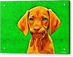 Dog Friend Green - Pa Acrylic Print by Leonardo Digenio