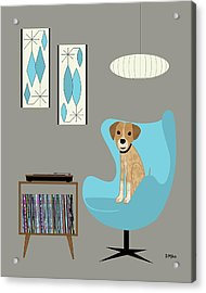 Dog In Egg Chair Acrylic Print