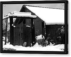 Dog In Snow Acrylic Print by Arik Baltinester