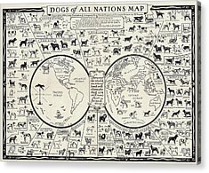 Dog Lovers Map 1936 Acrylic Print