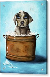 Dog N Suds Acrylic Print by Leah Saulnier The Painting Maniac