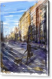 Dog Walks Man Acrylic Print by Russell Pierce