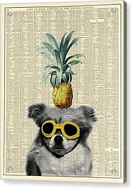 Dog With Goggles And Pineapple Acrylic Print