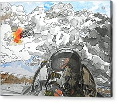 Dogfight Acrylic Print by D K Betts
