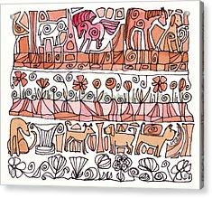 Dogs And Shapes Acrylic Print by Linda Kay Thomas