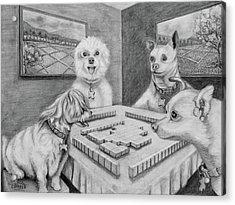 Dogs Playing Mahjong Acrylic Print