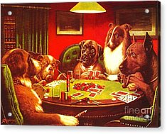 Dogs Playing Poker Acrylic Print by Roberto Prusso