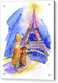Dogs With Eiffel Tower Acrylic Print