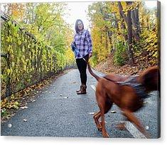 Dogwalking Acrylic Print