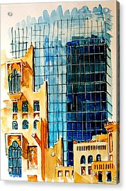 Doha Reflections Acrylic Print by Mike Shepley DA Edin