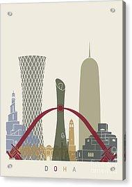 Doha Skyline Poster Acrylic Print by Pablo Romero