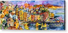 Dolce Vita In Vernazza Italy Acrylic Print by Ginette Callaway