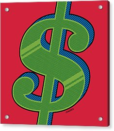 Acrylic Print featuring the digital art Dollar Sign Green by Ron Magnes