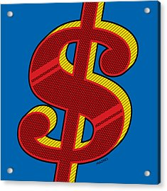 Acrylic Print featuring the digital art Dollar Sign Red by Ron Magnes
