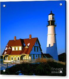Acrylic Print featuring the photograph Dollhouse Portland Head Light by Olivier Le Queinec
