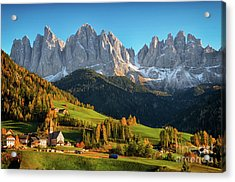 Dolomite Village In Autumn Acrylic Print
