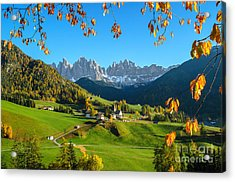 Dolomites Mountain Village In Autumn In Italy Acrylic Print