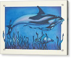 Dolphin And Turtle Acrylic Print by Erik Loiselle