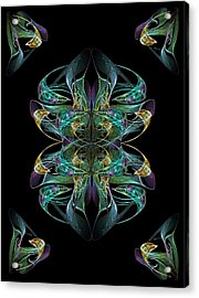 Dolphin Dance Flower Acrylic Print by Ricky Kendall