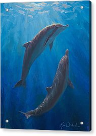 Acrylic Print featuring the painting Dolphin Dance - Underwater Whales by Karen Whitworth