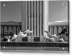 Dolphin Fountain In Black And White Acrylic Print by Frank Feliciano