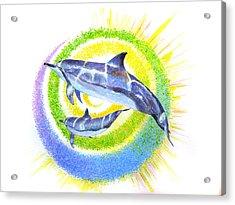 Dolphin -spiral Acrylic Print by Tamara Tavernier
