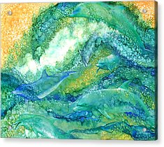 Acrylic Print featuring the mixed media Dolphin Waves 2 by Carol Cavalaris