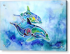 Acrylic Print featuring the painting Dolphins Dance by Jo Lynch
