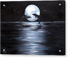 Dolphins Dancing Full Moon Acrylic Print