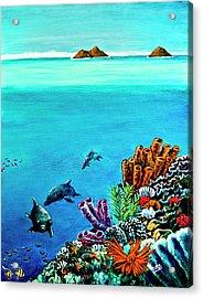 Dolphins Moorish Idle Lion Fish #253 Acrylic Print by Donald k Hall