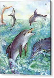 Dolphins Acrylic Print by Natalie Berman