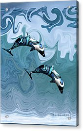 Dolphins Playing In The Waves Acrylic Print