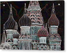 Domes Of St. Basil Cw Acrylic Print by Steven Liveoak