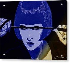 Dominatrix In Blue Acrylic Print by Joe Ciccarone
