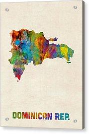 Dominican Republic Watercolor Map Acrylic Print by Michael Tompsett