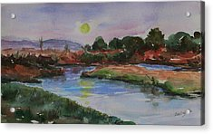 Acrylic Print featuring the painting Don Edwards San Francisco Bay National Wildlife Refuge Landscape 1 by Xueling Zou