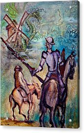 Don Quixote With Dragon Acrylic Print by Kevin Middleton