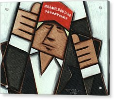 Acrylic Print featuring the painting Donald Trump Red Hat Thumbs Up Art Print by Tommervik
