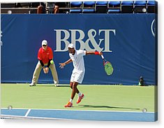 Donald Young Plays In The Winston-salem Open. Acrylic Print by Bryan Pollard