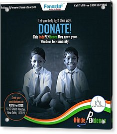 Donate School Stationery In This Independence Day At Fenesta Office Acrylic Print